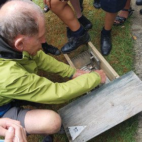 Roel Michels demonstrates how a standard rat trap works.
